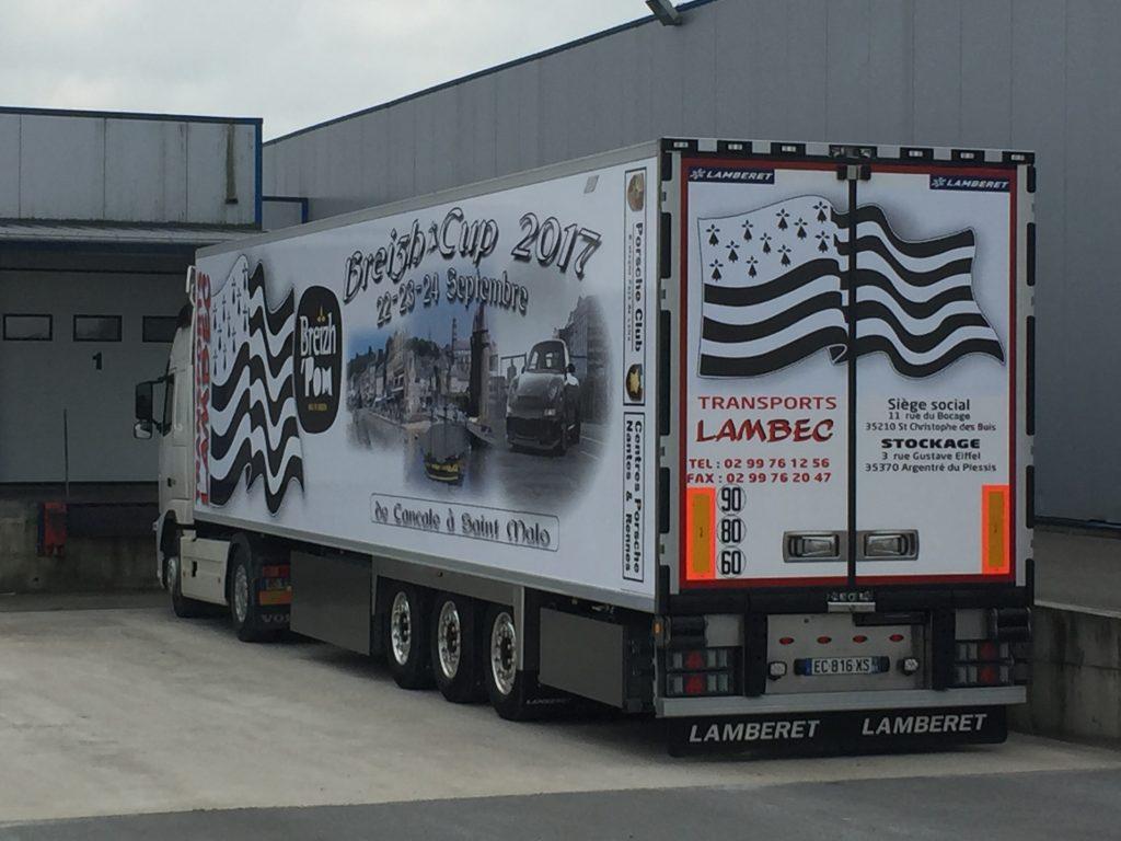 Flocage d'un semi-remorque de la flotte transports Lambert
